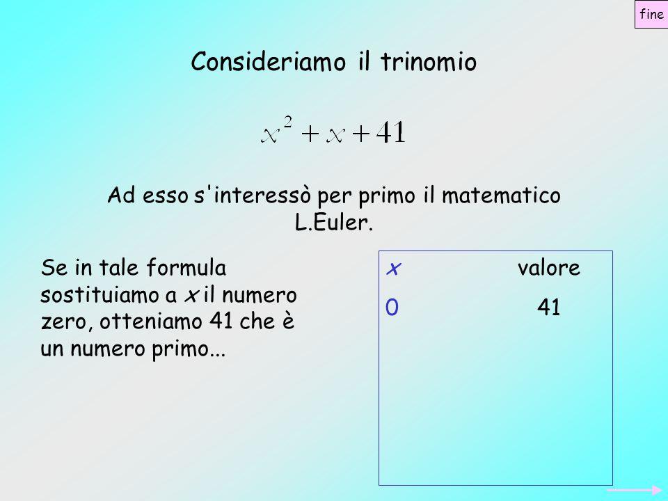 Se in tale formula sostituiamo a x il numero zero, otteniamo 41 che è un numero primo… sostituendo 1 si ottiene 43, numero primo...