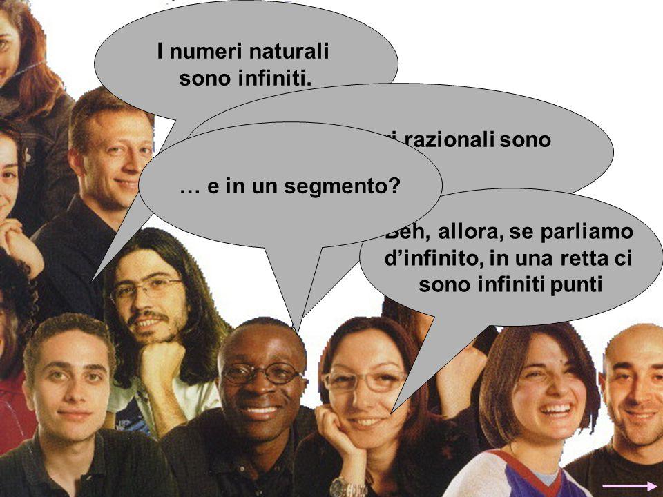 I numeri naturali sono infiniti. Anche i numeri razionali sono infiniti. Beh, allora, se parliamo d'infinito, in una retta ci sono infiniti punti … e