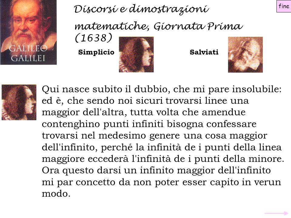 Discorsi e dimostrazioni matematiche, Giornata Prima (1638) SimplicioSalviati Qui nasce subito il dubbio, che mi pare insolubile: ed è, che sendo noi