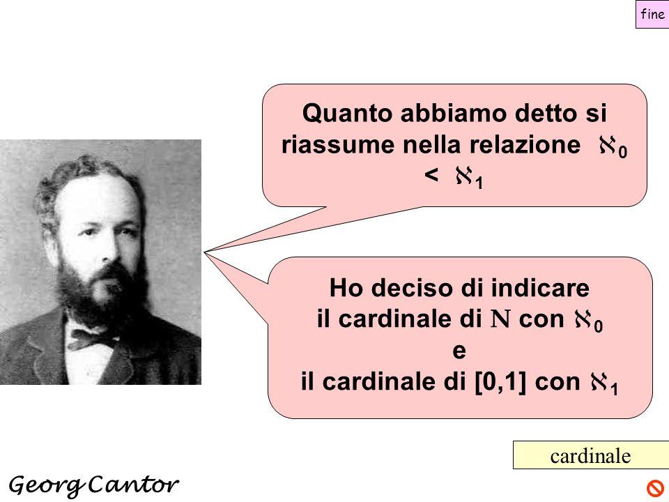 Ho deciso di indicare il cardinale di N con  0 e il cardinale di [0,1] con  1 cardinale Quanto abbiamo detto si riassume nella relazione  0 <  1 G