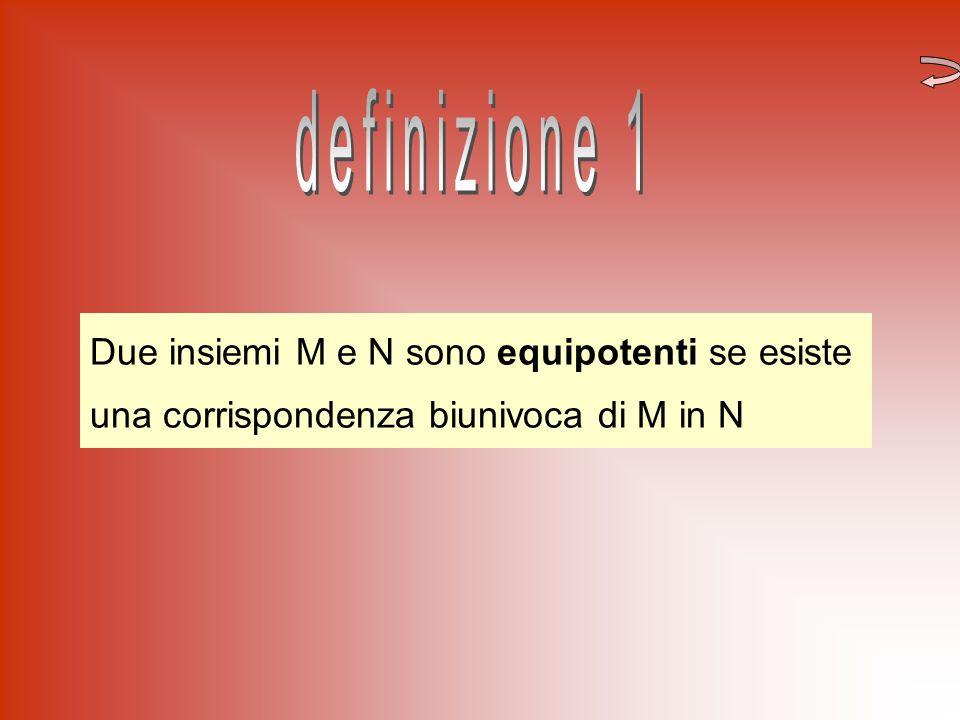 Due insiemi M e N sono equipotenti se esiste una corrispondenza biunivoca di M in N