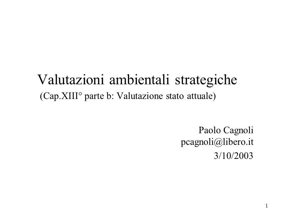 1 Valutazioni ambientali strategiche (Cap.XIII° parte b: Valutazione stato attuale) Paolo Cagnoli pcagnoli@libero.it 3/10/2003