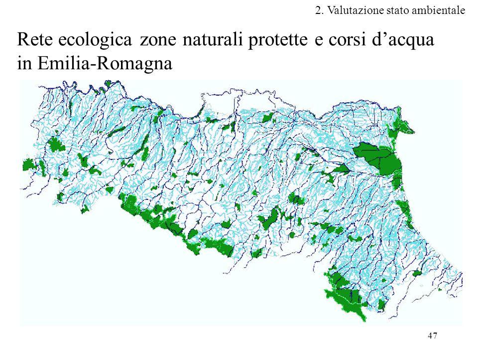 47 Rete ecologica zone naturali protette e corsi d'acqua in Emilia-Romagna 2.