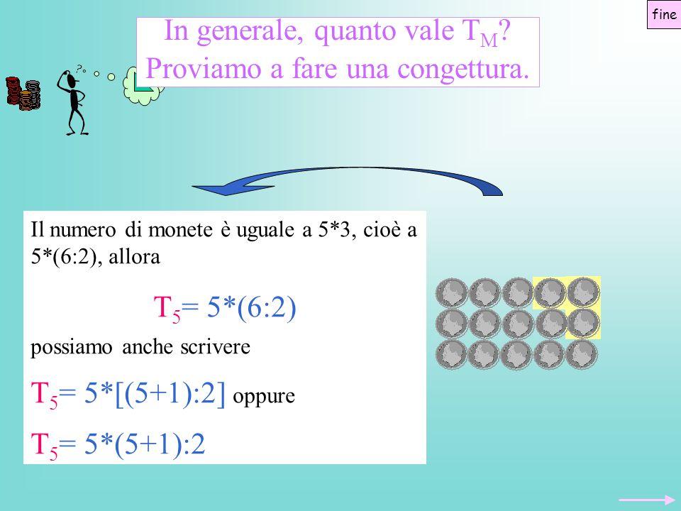 In generale, quanto vale T M ? Proviamo a fare una congettura. Il numero di monete è uguale a 5*3, cioè a 5*(6:2), allora T 5 = 5*(6:2) possiamo anche