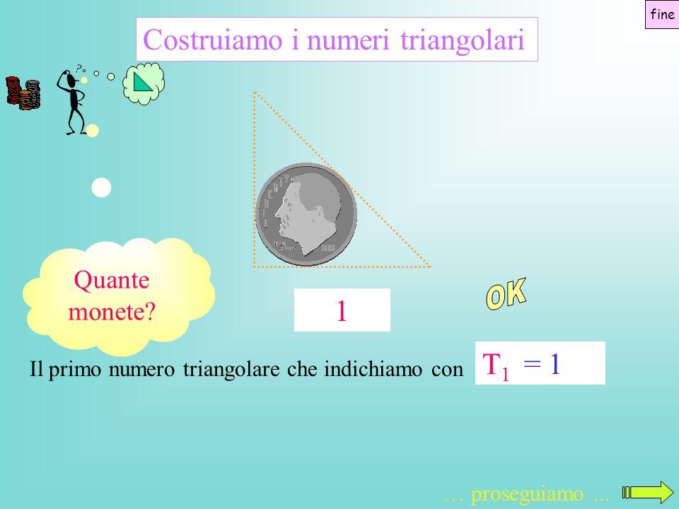 Costruiamo i numeri triangolari Il primo numero triangolare che indichiamo con T1T1 proseguiamo … proseguiamo... = 1 Quante monete? 1 fine