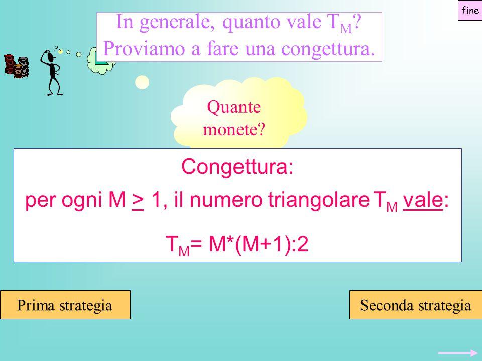 Quante monete? In generale, quanto vale T M ? Proviamo a fare una congettura. Congettura: per ogni M > 1, il numero triangolare T M vale: T M = M*(M+1