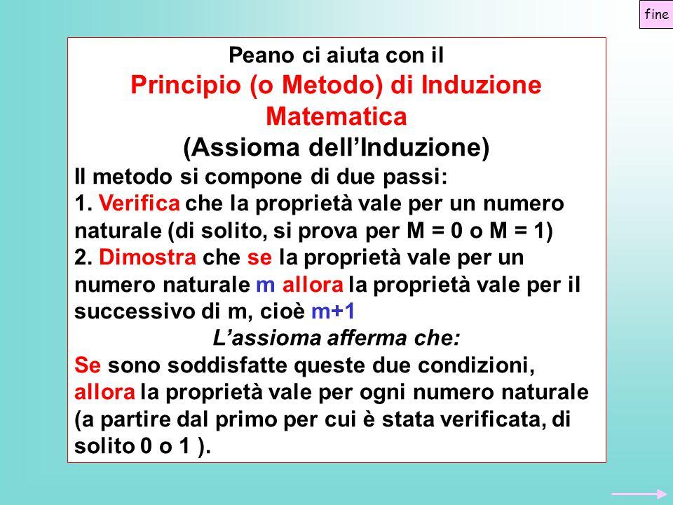 Peano ci aiuta con il Principio (o Metodo) di Induzione Matematica (Assioma dell'Induzione) Il metodo si compone di due passi: 1.