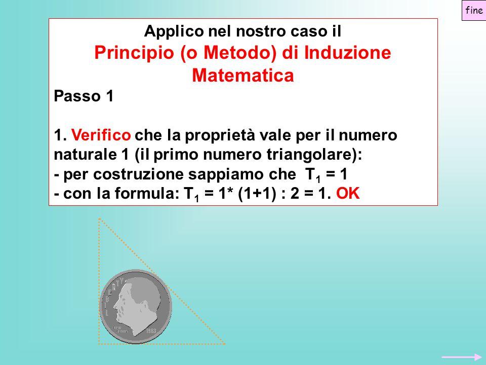 Applico nel nostro caso il Principio (o Metodo) di Induzione Matematica Passo 1 1. Verifico che la proprietà vale per il numero naturale 1 (il primo n