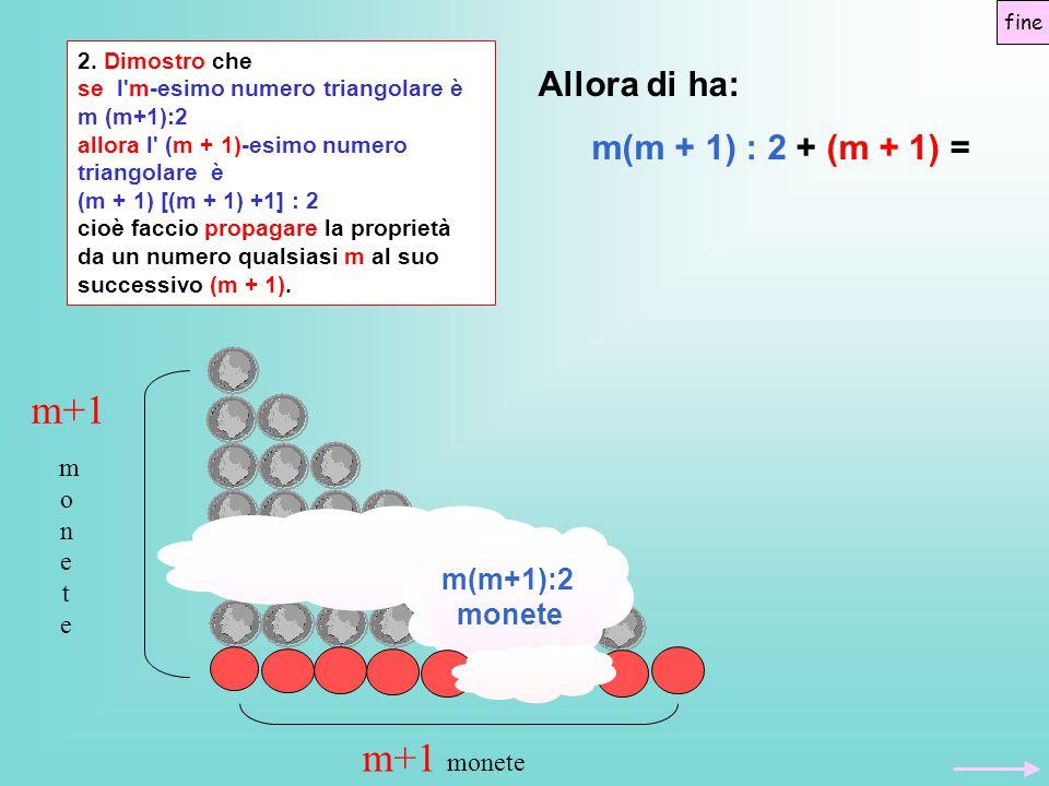 2. Dimostro che se l'm-esimo numero triangolare è m (m+1):2 allora l' (m + 1)-esimo numero triangolare è (m + 1) [(m + 1) +1] : 2 cioè faccio propagar