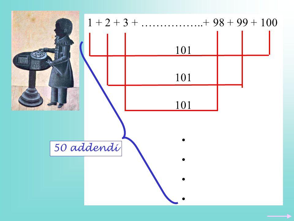 1 + 2 + 3 + ……………..+ 98 + 99 + 100 101. 50 addendi