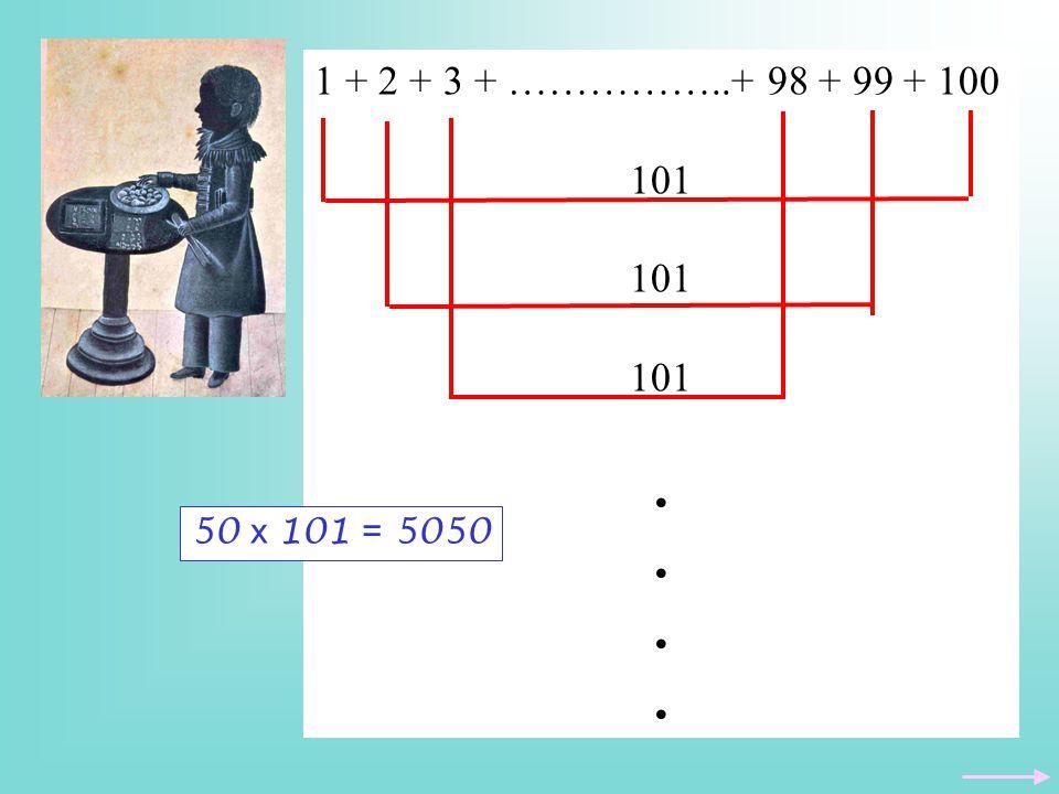 1 + 2 + 3 + ……………..+ 98 + 99 + 100 101. 50 x 101 = 5050