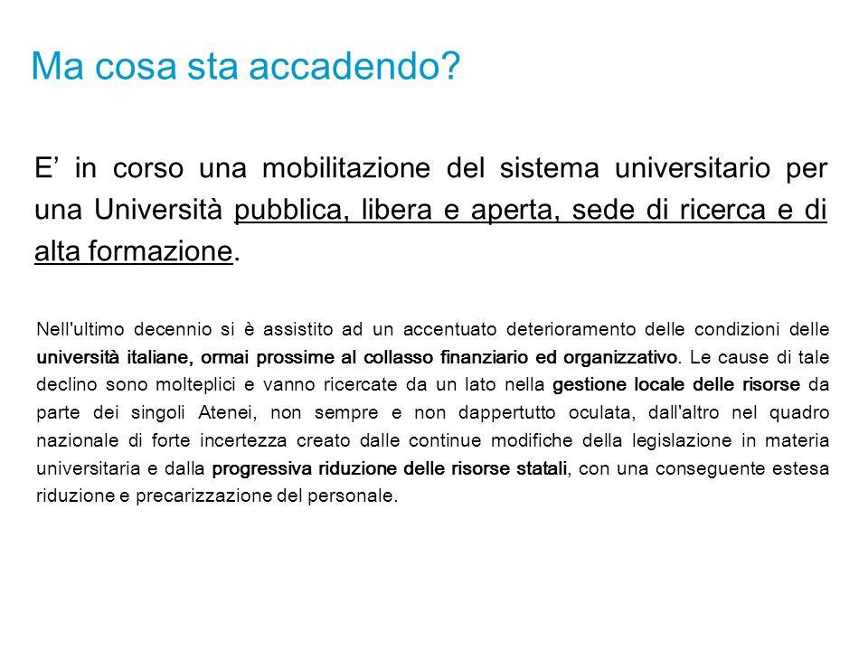 Ma cosa sta accadendo? E' in corso una mobilitazione del sistema universitario per una Università pubblica, libera e aperta, sede di ricerca e di alta