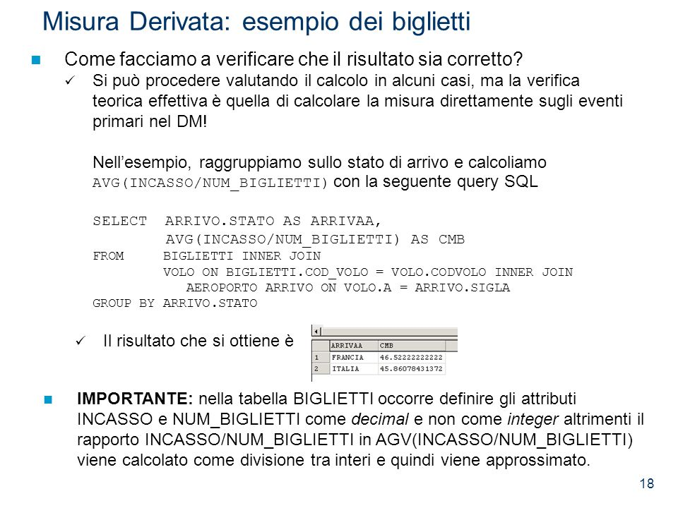 18 Misura Derivata: esempio dei biglietti Il risultato che si ottiene è Come facciamo a verificare che il risultato sia corretto? Si può procedere val