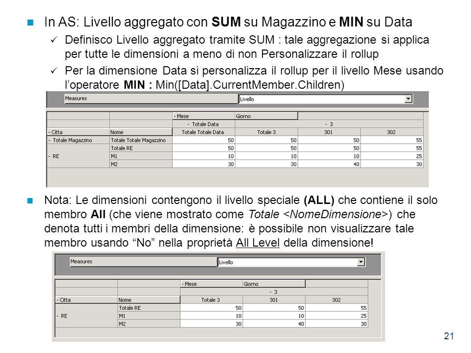 21 In AS: Livello aggregato con SUM su Magazzino e MIN su Data Definisco Livello aggregato tramite SUM : tale aggregazione si applica per tutte le dimensioni a meno di non Personalizzare il rollup Per la dimensione Data si personalizza il rollup per il livello Mese usando l'operatore MIN : Min([Data].CurrentMember.Children) Nota: Le dimensioni contengono il livello speciale (ALL) che contiene il solo membro All (che viene mostrato come Totale ) che denota tutti i membri della dimensione: è possibile non visualizzare tale membro usando No nella proprietà All Level della dimensione!