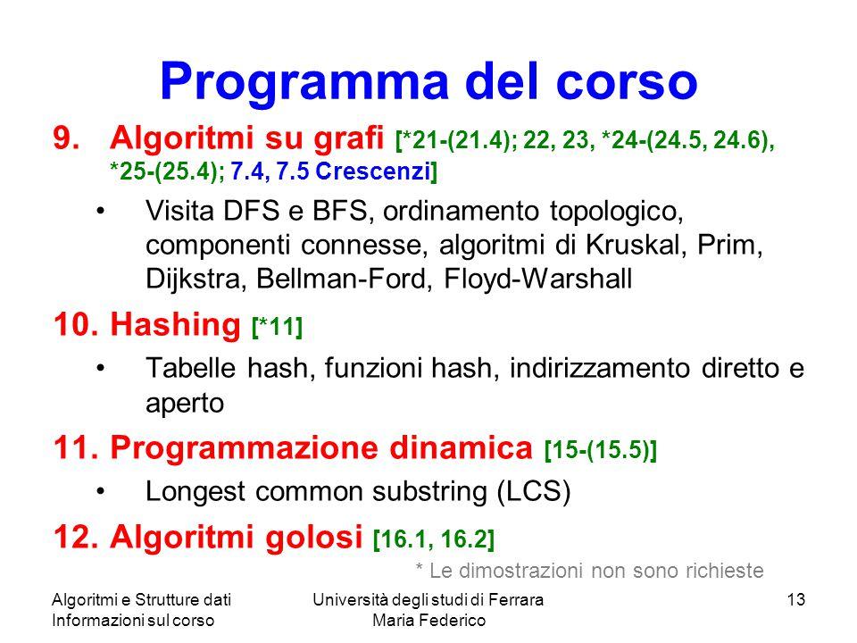 Algoritmi e Strutture dati Informazioni sul corso Università degli studi di Ferrara Maria Federico 13 Programma del corso 9.Algoritmi su grafi [*21-(2