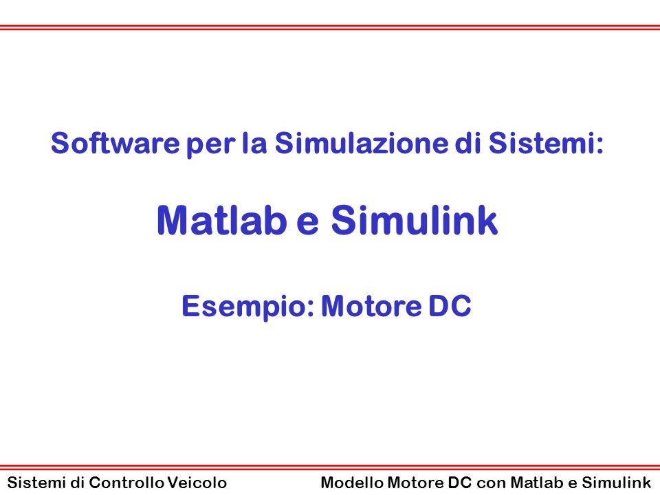 Struttura dei Modelli in Matlab - Simulink Modello Simulink ( motoreDC0mdl.mdl ) Contiene il modello POG del sistema da simulare costruito con i blocchi di Simulink.