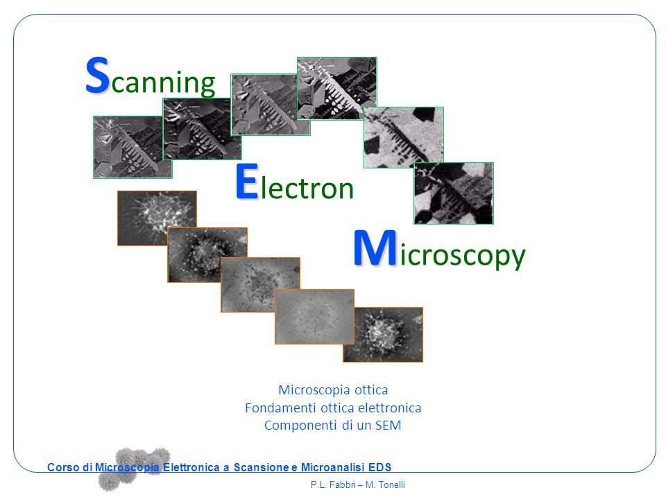  x = dimensione dell'area scandita sul campione L = dimensione del dispositivo che mostra l'immagine M = L /  x Microscopio elettronico a scansione Corso di Microscopia Elettronica a Scansione e Microanalisi EDS P.L.