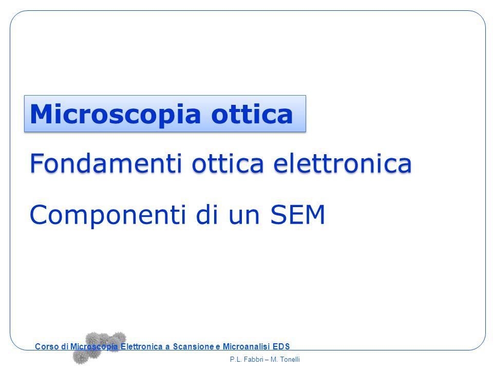 Microscopia ottica Fondamenti ottica elettronica Componenti di un SEM Corso di Microscopia Elettronica a Scansione e Microanalisi EDS P.L. Fabbri – M.