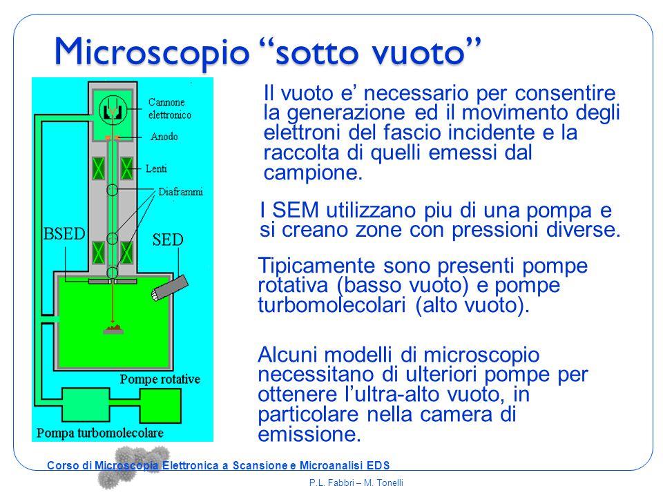 """Microscopio """"sotto vuoto"""" I SEM utilizzano piu di una pompa e si creano zone con pressioni diverse. Tipicamente sono presenti pompe rotativa (basso vu"""
