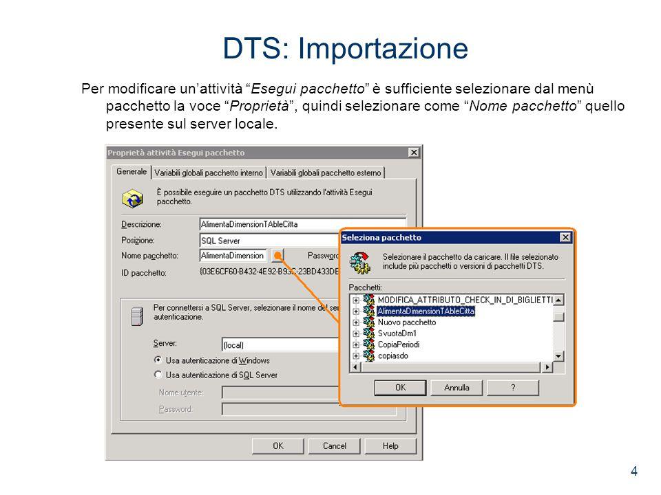 4 DTS: Importazione Per modificare un'attività Esegui pacchetto è sufficiente selezionare dal menù pacchetto la voce Proprietà , quindi selezionare come Nome pacchetto quello presente sul server locale.