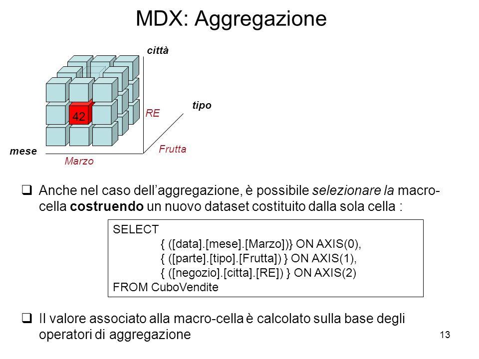 13 MDX: Aggregazione tipo 42 mese città Marzo Frutta RE SELECT { ([data].[mese].[Marzo])} ON AXIS(0), { ([parte].[tipo].[Frutta]) } ON AXIS(1), { ([ne