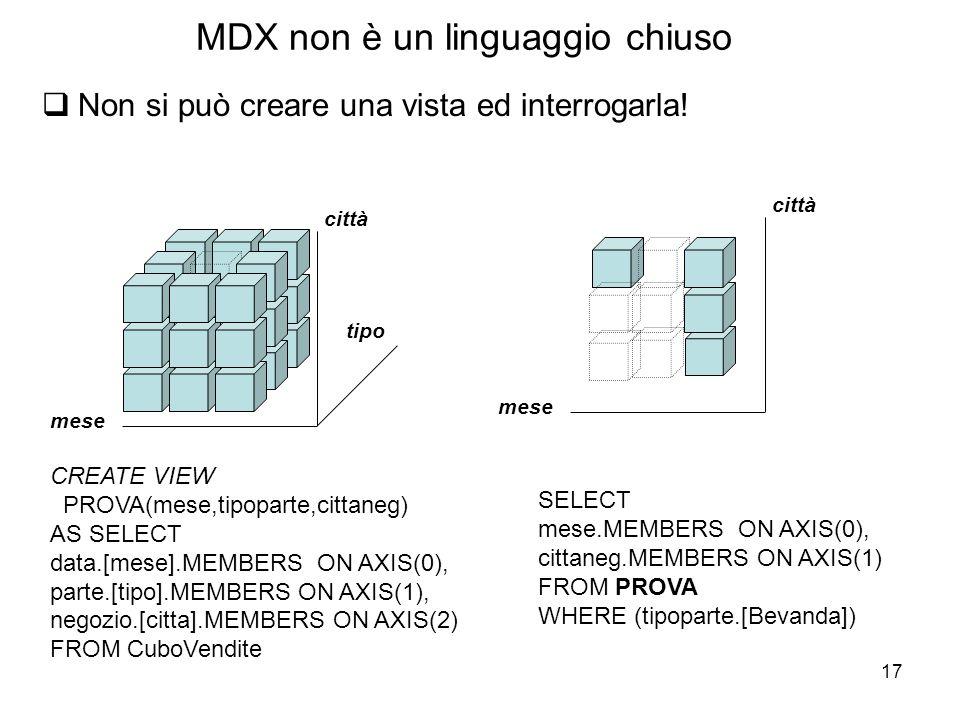 17 MDX non è un linguaggio chiuso  Non si può creare una vista ed interrogarla! tipo mese città CREATE VIEW PROVA(mese,tipoparte,cittaneg) AS SELECT