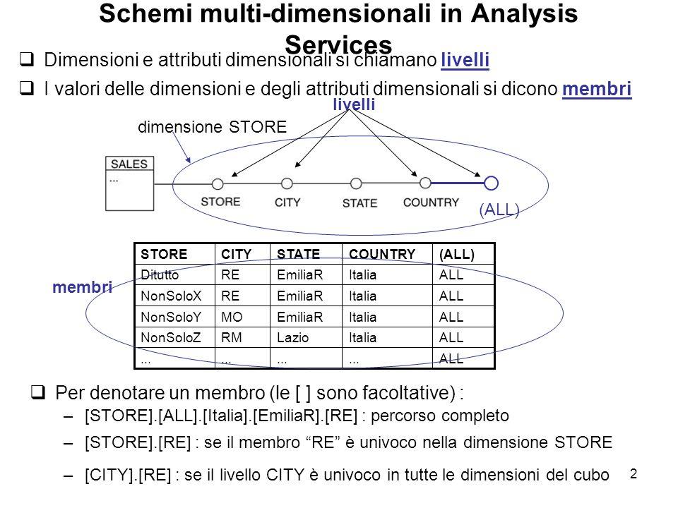 2 Schemi multi-dimensionali in Analysis Services  Dimensioni e attributi dimensionali si chiamano livelli  I valori delle dimensioni e degli attribu