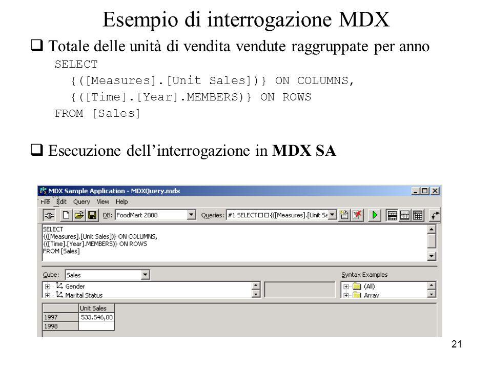 21 Esempio di interrogazione MDX  Totale delle unità di vendita vendute raggruppate per anno SELECT {([Measures].[Unit Sales])} ON COLUMNS, {([Time].