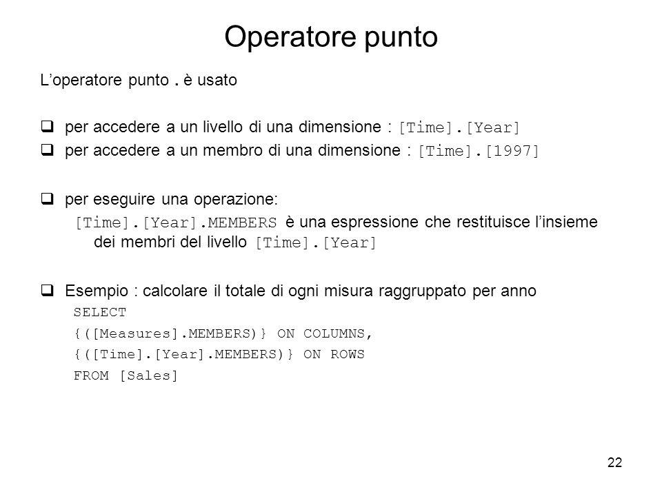 22 Operatore punto L'operatore punto. è usato  per accedere a un livello di una dimensione : [Time].[Year]  per accedere a un membro di una dimensio