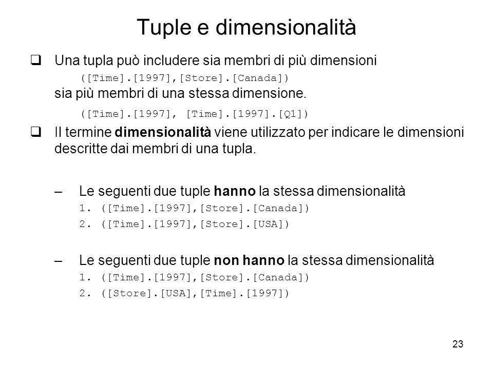 23 Tuple e dimensionalità  Una tupla può includere sia membri di più dimensioni ([Time].[1997],[Store].[Canada]) sia più membri di una stessa dimensi