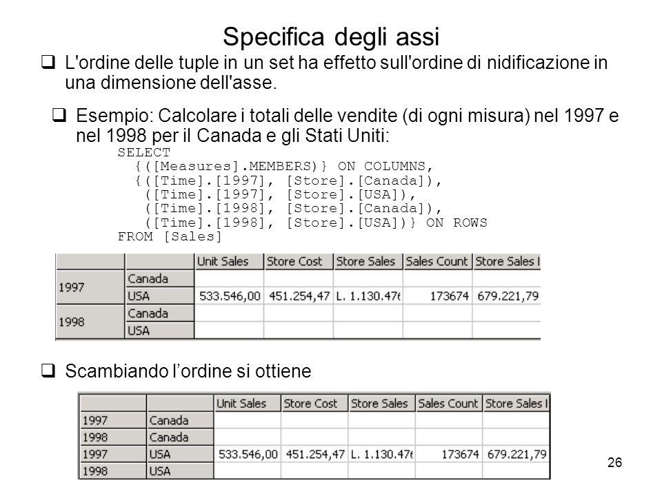 26 Specifica degli assi  L'ordine delle tuple in un set ha effetto sull'ordine di nidificazione in una dimensione dell'asse.  Esempio: Calcolare i t