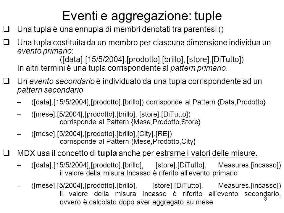 3 Eventi e aggregazione: tuple  Una tupla è una ennupla di membri denotati tra parentesi ()  Una tupla costituita da un membro per ciascuna dimensio