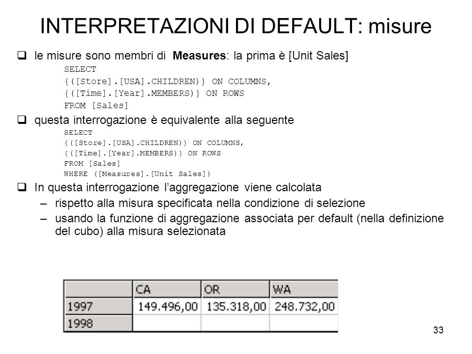 33 INTERPRETAZIONI DI DEFAULT: misure  le misure sono membri di Measures: la prima è [Unit Sales] SELECT {([Store].[USA].CHILDREN)} ON COLUMNS, {([Time].[Year].MEMBERS)} ON ROWS FROM [Sales]  questa interrogazione è equivalente alla seguente SELECT {([Store].[USA].CHILDREN)} ON COLUMNS, {([Time].[Year].MEMBERS)} ON ROWS FROM [Sales] WHERE ([Measures].[Unit Sales])  In questa interrogazione l'aggregazione viene calcolata –rispetto alla misura specificata nella condizione di selezione –usando la funzione di aggregazione associata per default (nella definizione del cubo) alla misura selezionata