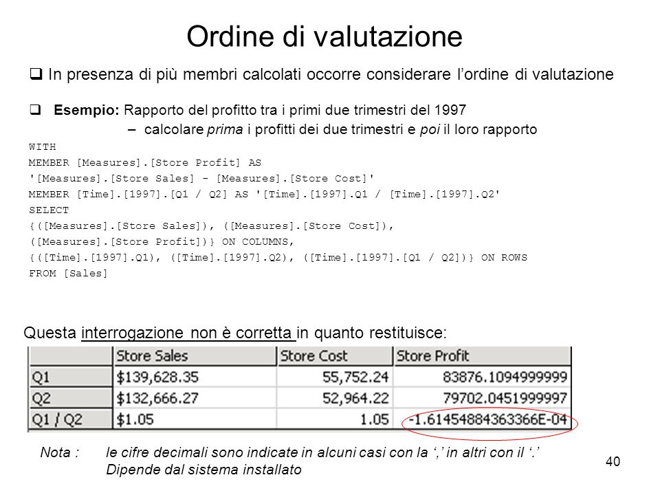 40 Ordine di valutazione  Esempio: Rapporto del profitto tra i primi due trimestri del 1997 –calcolare prima i profitti dei due trimestri e poi il loro rapporto WITH MEMBER [Measures].[Store Profit] AS [Measures].[Store Sales] - [Measures].[Store Cost] MEMBER [Time].[1997].[Q1 / Q2] AS [Time].[1997].Q1 / [Time].[1997].Q2 SELECT {([Measures].[Store Sales]), ([Measures].[Store Cost]), ([Measures].[Store Profit])} ON COLUMNS, {([Time].[1997].Q1), ([Time].[1997].Q2), ([Time].[1997].[Q1 / Q2])} ON ROWS FROM [Sales]  In presenza di più membri calcolati occorre considerare l'ordine di valutazione Questa interrogazione non è corretta in quanto restituisce: Nota : le cifre decimali sono indicate in alcuni casi con la ',' in altri con il '.' Dipende dal sistema installato