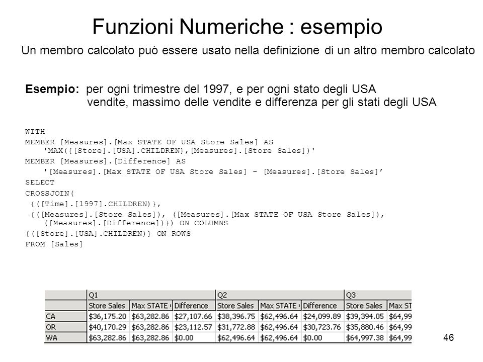 46 Funzioni Numeriche : esempio WITH MEMBER [Measures].[Max STATE OF USA Store Sales] AS MAX({[Store].[USA].CHILDREN},[Measures].[Store Sales]) MEMBER [Measures].[Difference] AS [Measures].[Max STATE OF USA Store Sales] - [Measures].[Store Sales]' SELECT CROSSJOIN( {([Time].[1997].CHILDREN)}, {([Measures].[Store Sales]), ([Measures].[Max STATE OF USA Store Sales]), ([Measures].[Difference])}) ON COLUMNS {([Store].[USA].CHILDREN)} ON ROWS FROM [Sales] Un membro calcolato può essere usato nella definizione di un altro membro calcolato Esempio: per ogni trimestre del 1997, e per ogni stato degli USA vendite, massimo delle vendite e differenza per gli stati degli USA