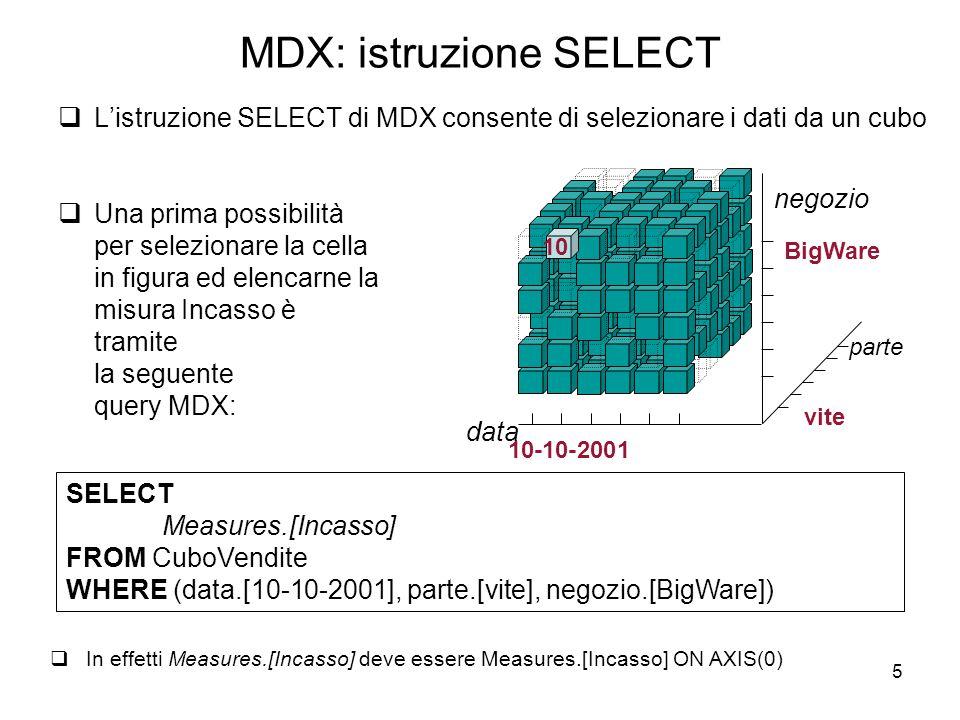 5 MDX: istruzione SELECT  L'istruzione SELECT di MDX consente di selezionare i dati da un cubo  Una prima possibilità per selezionare la cella in fi