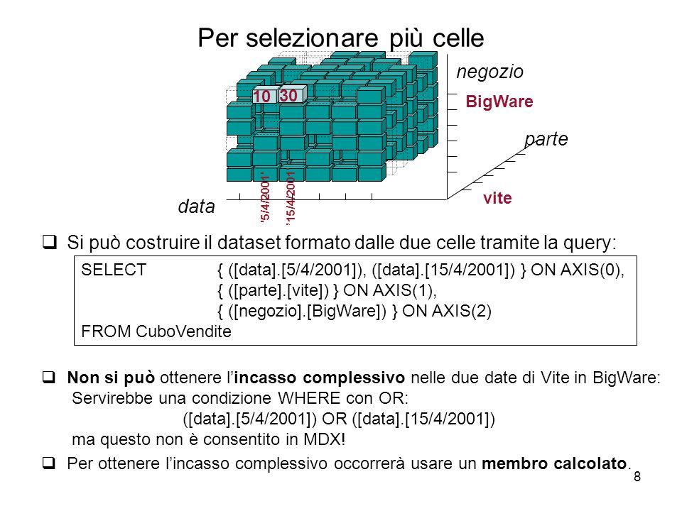 8 Per selezionare più celle  Si può costruire il dataset formato dalle due celle tramite la query: SELECT { ([data].[5/4/2001]), ([data].[15/4/2001])