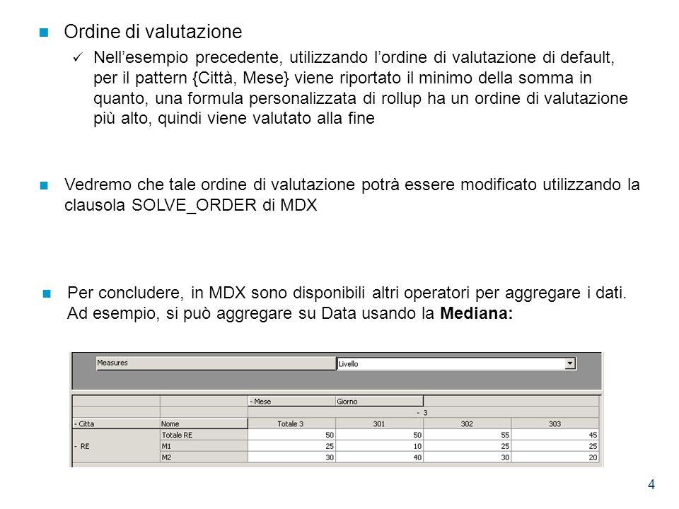 4 Ordine di valutazione Nell'esempio precedente, utilizzando l'ordine di valutazione di default, per il pattern {Città, Mese} viene riportato il minimo della somma in quanto, una formula personalizzata di rollup ha un ordine di valutazione più alto, quindi viene valutato alla fine Vedremo che tale ordine di valutazione potrà essere modificato utilizzando la clausola SOLVE_ORDER di MDX Per concludere, in MDX sono disponibili altri operatori per aggregare i dati.