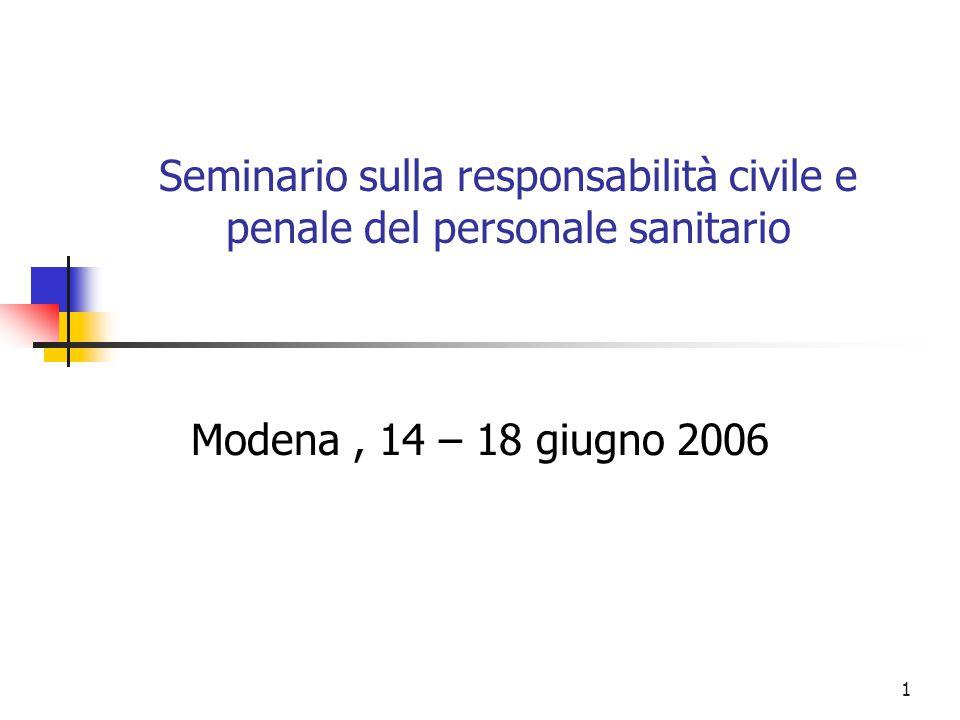 1 Seminario sulla responsabilità civile e penale del personale sanitario Modena, 14 – 18 giugno 2006