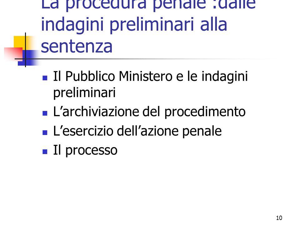 10 La procedura penale :dalle indagini preliminari alla sentenza Il Pubblico Ministero e le indagini preliminari L'archiviazione del procedimento L'es