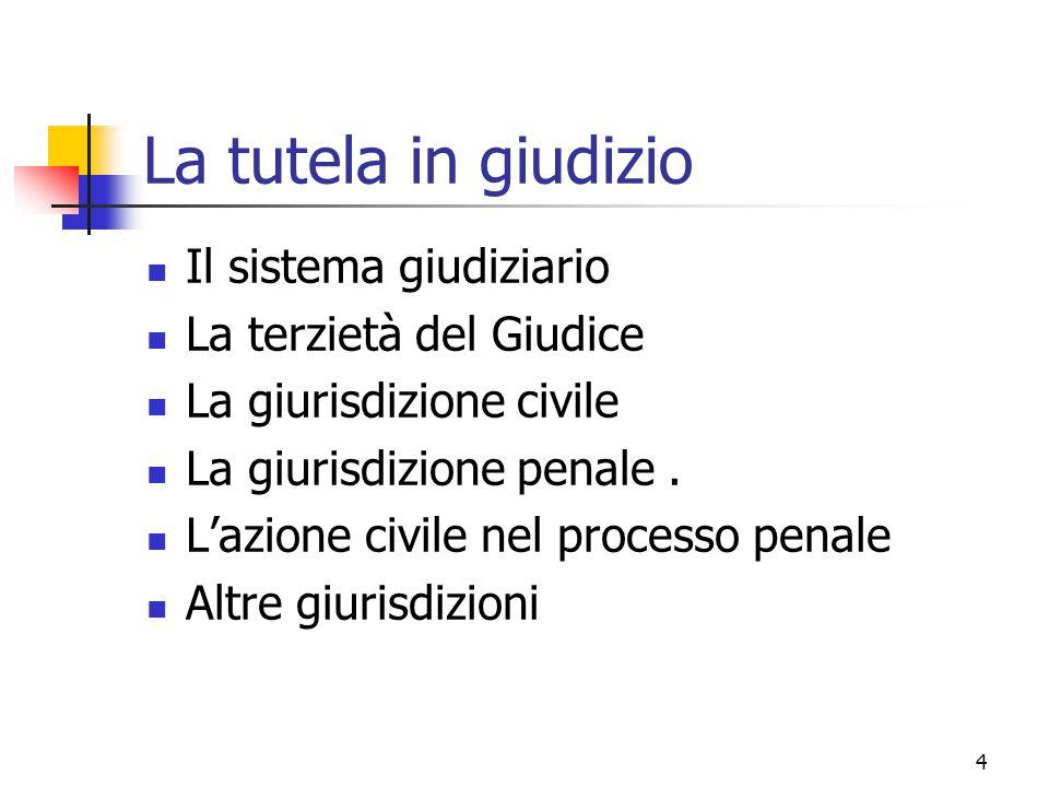 4 La tutela in giudizio Il sistema giudiziario La terzietà del Giudice La giurisdizione civile La giurisdizione penale. L'azione civile nel processo p