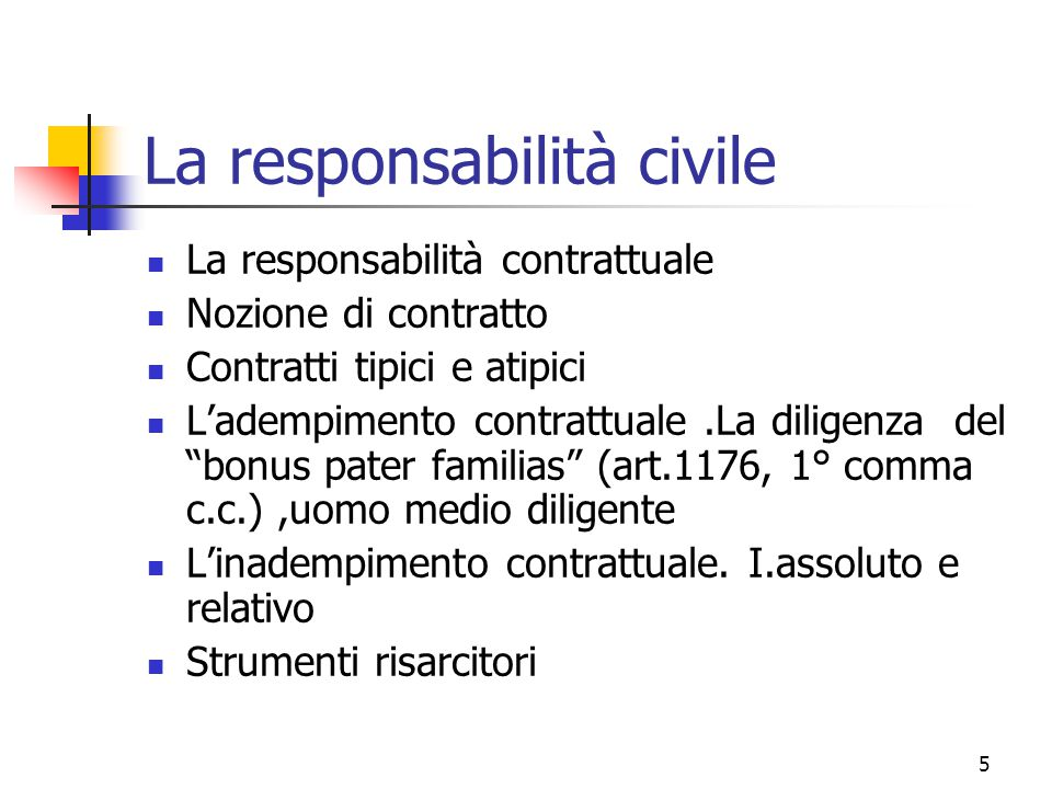 5 La responsabilità civile La responsabilità contrattuale Nozione di contratto Contratti tipici e atipici L'adempimento contrattuale.La diligenza del