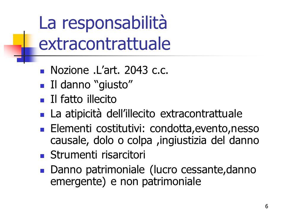 """6 La responsabilità extracontrattuale Nozione.L'art. 2043 c.c. Il danno """"giusto"""" Il fatto illecito La atipicità dell'illecito extracontrattuale Elemen"""