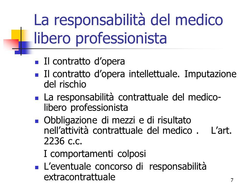 7 La responsabilità del medico libero professionista Il contratto d'opera Il contratto d'opera intellettuale. Imputazione del rischio La responsabilit