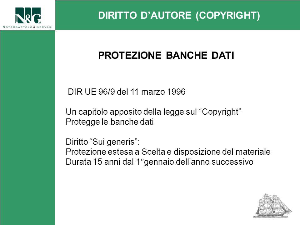 DIR UE 96/9 del 11 marzo 1996 Un capitolo apposito della legge sul Copyright Protegge le banche dati Diritto Sui generis : Protezione estesa a Scelta e disposizione del materiale Durata 15 anni dal 1°gennaio dell'anno successivo DIRITTO D'AUTORE (COPYRIGHT) PROTEZIONE BANCHE DATI