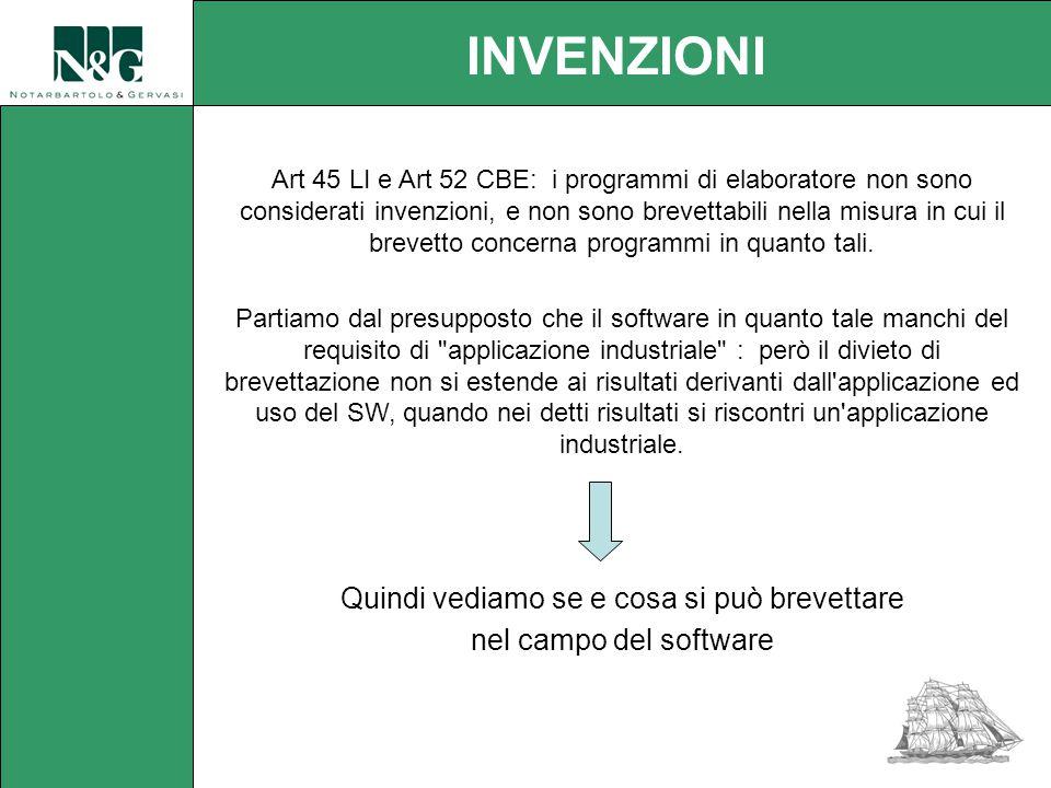 Art 45 LI e Art 52 CBE: i programmi di elaboratore non sono considerati invenzioni, e non sono brevettabili nella misura in cui il brevetto concerna programmi in quanto tali.