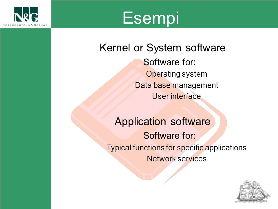 Kernel or System software Software for: Operating system Data base management User interface Application software Software for: Typical functions for specific applications Network services Esempi