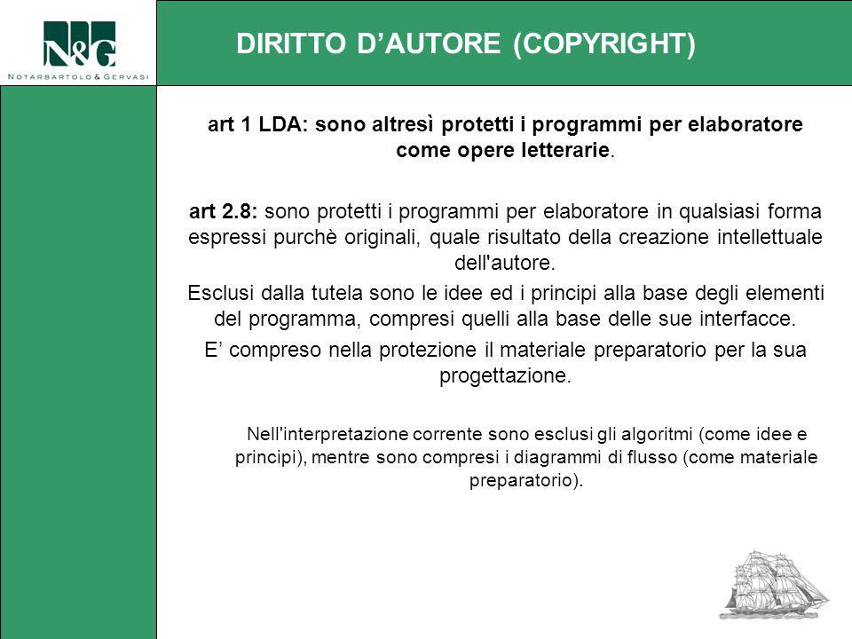 art 1 LDA: sono altresì protetti i programmi per elaboratore come opere letterarie.