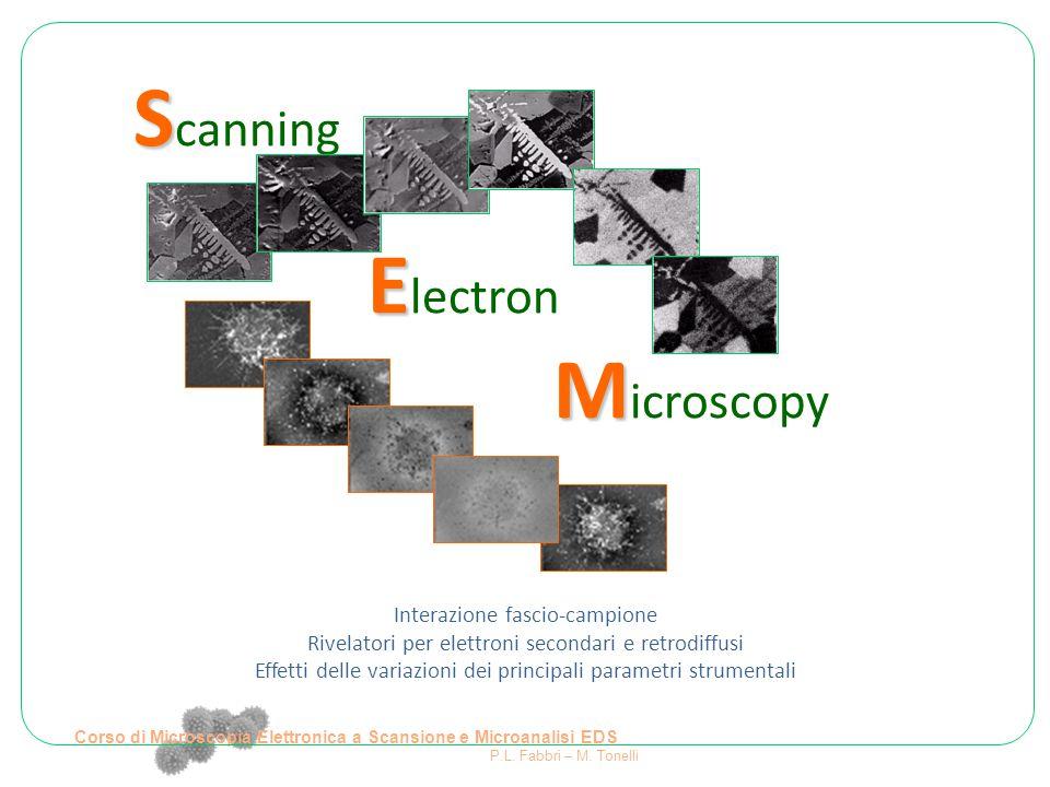 Elettroni retrodiffusi (backscattered BS) Dipendenza del volume di provenienza da E (fascio incidente) e da Z e ρ (campione) BS  Scarsa risoluzione spaziale Corso di Microscopia Elettronica a Scansione e Microanalisi EDS P.L.