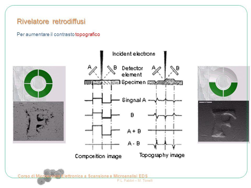 Rivelatore retrodiffusi Per aumentare il contrasto topografico Corso di Microscopia Elettronica a Scansione e Microanalisi EDS P.L. Fabbri – M. Tonell